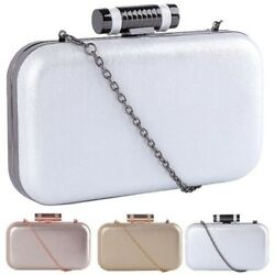New Shimmer Cylinder Clasp Ladies Evening Party Box Clutch Bag Purse