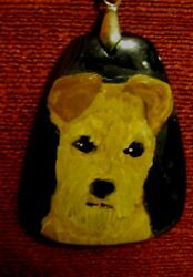 Welsh Terrier hand painted on gemstone pendantbeadnecklace