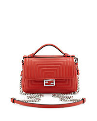 100% AUTH NEW FENDI DOUBLE SIDED QUILTED RED MICRO BAGUETTE SATCHEL BAGHANDBAG
