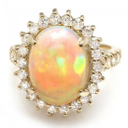 6.05Ct Natural Ethiopian Opal and Diamond 14K Solid Yellow Gold Ring