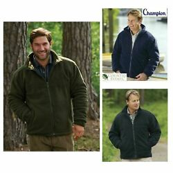 Champion Antipil Quilted Padded Thick Quilted Warm Glen Fleece Jacket Coat S-3xl