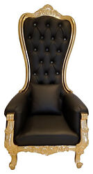 Baroque Queen Throne High Back Chair - Spa Chair In Black Leather Gold Frame