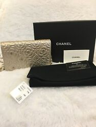 NIB Chanel Gold Crystal Camellia Flower Lamb WOC Wallet On Chain