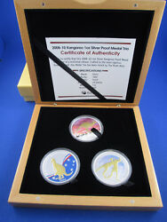 2008 - 2010 Kangaroo 1oz Silver Proof Medal Trio . Superb Must Have