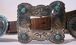 Great Vintage Navajo Indian Leather Belt With Silver Conchos And Turquoise Buckle