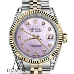 Rolex 31mm Datejust 18K Gold Stainless Steel Baby Pink MOP Dial with Diamonds