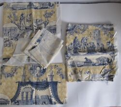 Travers And Company Decorator Fabric Remnant Pieces Gold Blue French Country