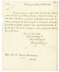 Timothy Pickering Letter Signed Maryland Claims Stock In The Bank Of England
