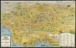 Pictorial Map Of Greater Los Angeles Vintage History Wall Art Poster Decor