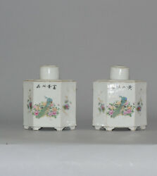 Antique Chinese Porcelain Tea Caddy Qianjiang Republic Marked Artist Base