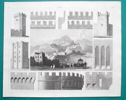 MILITARY Fortifications China Great Wall Medieval Elements 1844 Superb Print