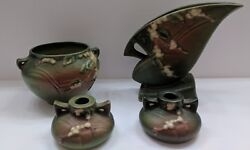 Set Of 3 Roseville Pottery Snowberry Green Jardiniere 1j4 1fh-7 And 1651