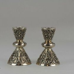 Antique Thailand Sterling Silver Candle Stick Set Bencharong Thailand 19th / ...