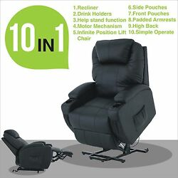 Power Lift Recliner Armchair Leather Lounge Sofa Chair For Elderly Seat Black