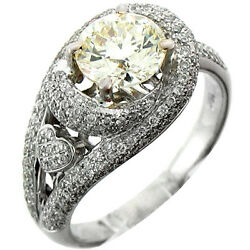2.32Ctw Round Solitaire Diamond w Accent Ladies Engagement Ring 18K White Gold