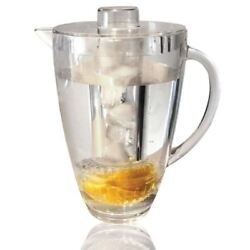 Double 1.8l Fruit Infusion Pitcher Drinks Ice Core Kitchen Bbq Water Infuser Jug
