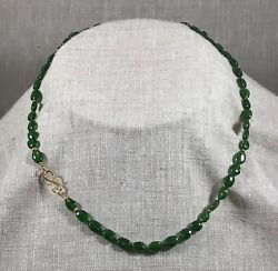 Fine, Smooth Oval Chrome Diopside Necklace With 18k Beads And 24k S-clasp