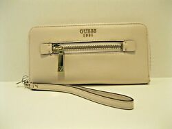 Guess NWT Wristlet Wallet Clutch Beige Gold Zip Close Removable Strap Card Slots