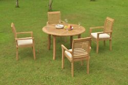 5pc Grade-a Teak Dining Set 48 Round Table 4 Mas Stacking Arm Chair Outdoor