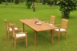 5pc Grade-a Teak Dining Set 94 Rectangle Table 4 Mas Stacking Arm Chair Outdoor