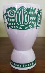 Vintage Arabia Unmarked Green And White Bird Egg Cup Made In Finland