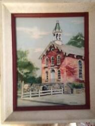 Old Town Hall, Brecksville, Ohio Oil Painting On Canvas By Artist Ruth Sietman