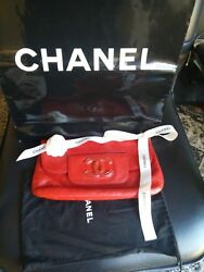 CHANEL RED Quilted Lambskin Leather Hampton CC Foldover Clutch Bag