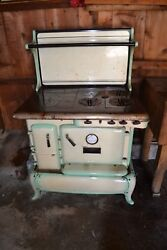 1900-1920 Wood Stove Green Enamel And Nickel Plated Premier Dual F Converted