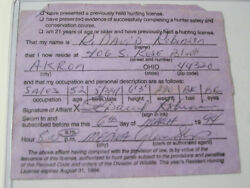Vintage Dave Robinson Green Bay Packers State Of Ohio Hunting License 1994