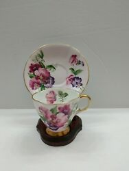 Clarence Bone China Tea/demitasse Cup And Saucer Set England Includes Stand
