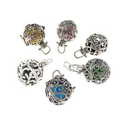 Antique Silver 6 Pcs/box Mixed Lockets Pearl Cage Pendant Charms With Lava Beads
