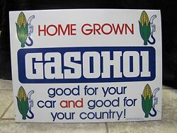 1970and039s Gasohol Double Sided Sign Gas Oil Advertising Pump Topper Corn Farm Fuel