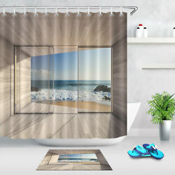 Balcony Paradise Sunny Beach Waterproof Polyester Fabric Shower Curtain Liner $18.55