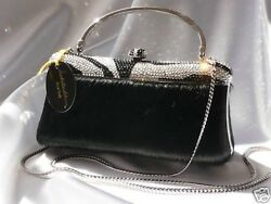 Evening Bag with Swarovski Crystals Clutch Handbag-BlackSilver-Isabella Adams