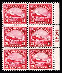 Us C6 24c Air Mail Mint Plate Block Of 6 14840 Vf Og Nh Scv 2850
