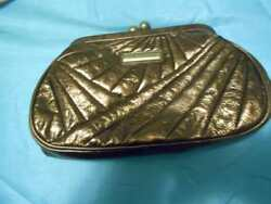 ISABELLA FIORE BRONZE TEXTURED  METALLIC EVENING CLUTCH BAG