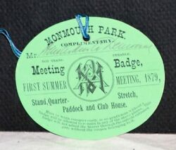Rare 1879 Monmouth Park Meeting Badge W/orig. Tassel, Signed By D.d. Withers