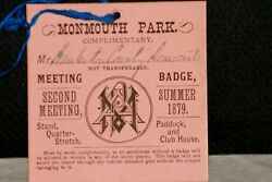 Rare 1879 Monmouth Park Summer Meeting Badge W/orig. Signed By D.d. Withers