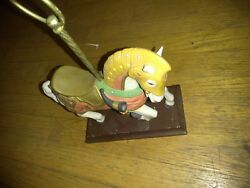 Charles Looff Medieval Armored Horse Wooden Base Masterpiece Porcelain By Homco