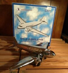 Schylling Toys 9 Dc-3 Chrome Plated Tin Metal Friction Motor Toy Airplane New