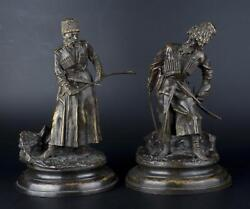Decor Art Russia Woerfel Bronze Two sculptures Cossack Linear and Circassian