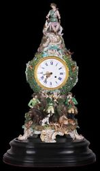Decor Art Germany Meissen Mantle clock with Goddess Diana and hunting scenes
