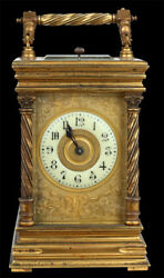 Decor Art France Bronze Coach clock with wreathed  columns on the sides