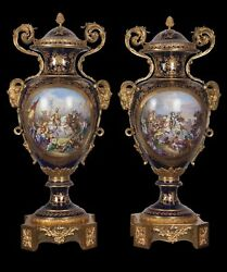 Decor Art Sevres Kissert Porcelain Two vases with scenes of knight battles