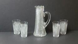 American Brilliant Period Hawkes Cut Glass Pitcher And 4 Tumblers