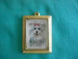 YORKSHIRE TERRIER - hand painted Charm in gold tone frame #003
