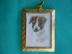 JACK RUSSELL TERRIER - hand painted Charm in gold tone frame #003