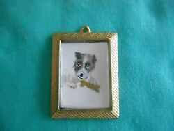JACK RUSSELL PUPPY with bone - hand painted Charm in gold tone frame #003