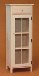New Amish Custom Made Pine Unfinished Glass Door Jelly Cabinet   Weand039ll Finish