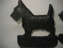 Vintage Cast Iron Scottie Dog Pair Book Ends Doorstops Scottish Terrier Mark 50